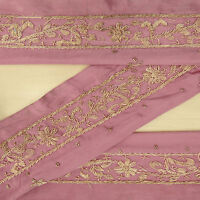 Vintage saree Border Indian Sari Hand Beaded Mauve 1YD Trim Sewing Used Lace