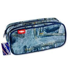"""Premier Double zipped Compartment Pencil Case - """"Denim Jeans"""" Design"""