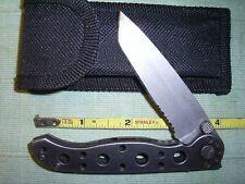 "Vintage CRKT M16-10S Pocket Knife CARSON DESIGN Stainless Tanto Blade 4"" Handle"