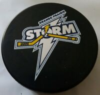 GRANDE PRAIRIE STORM VINTAGE RARE OFFICIAL HOCKEY PUCK MADE IN SLOVAKIA AD*
