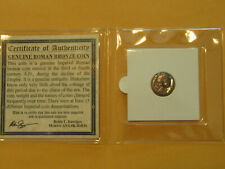 Ancient Roman Coin Genuine Roman Bronze coin w story card folder c