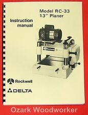 """DELTA-Rockwell RC-33 13"""" Planer Operator & Parts Manual 0254"""