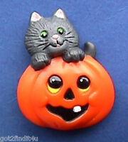 BUY1&GET1@50%~Russ PIN Halloween CAT BLACK JOL PUMPKIN Vtg Holiday Brooch