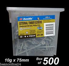 External Timber Screws - Galvanised - BULK 10g x 75mm - Box of 500 - Outdoor