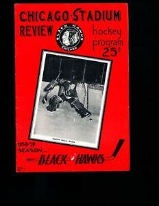 EX PLUS 11/30/1958 Black Hawks vs Rangers NHL Program HOF'er Glenn Hall on Cover