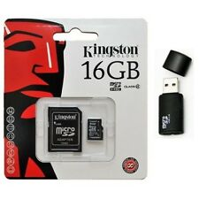 Kingston 16GB MicroSD HC Memory Card SDC4/16GB with SD Adapter and Black Reader
