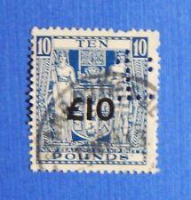 1939 -40 10L NEW ZEALAND STAMP DUTY REVENUE SG# F216b BAREFOOT# 362 USED CS34535