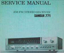 SANSUI 771 récepteur stéréo service manual Inc schémas Imprimé Bound anglais