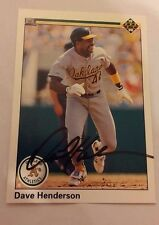 DAVE HENDERSON 1990 UPPER DECK Autographed Signed Baseball Card 206 A'S