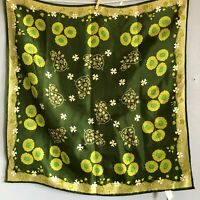 "Vintage 23"" Green White Florall Daisy Rain Scarf Made in Japan MCM 60s"