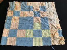 Vintage Hand Quilted Nine Patch Cutter Quilt Piece With Old Quilt As Batting