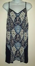 womens tunic top size m blue paisley floral strappy cut out back v-neck summer