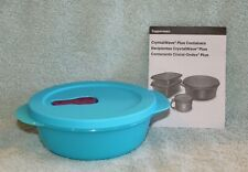 Tupperware CRYSTALWAVE PLUS ROUND CONTAINER Aqua Blue Microwave Safe 2.5 Cup NEW