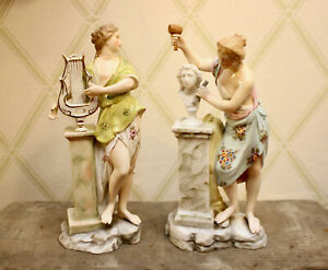 Elegant Porcelain Muse Figurines, Euterpe and Clio, Blue Mark, Dreden, Volkstedt