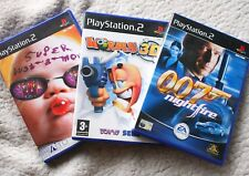 LOT of 3 PS2 Games: 007 NIGHTFIRE, SUPER BUST-A-MOVE & WORMS 3D. COMPLETE!