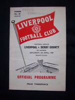 LIVERPOOL FC - DERBY COUNTY FC  1958/59  Division 2  // Orig.Programme  !!  RARE