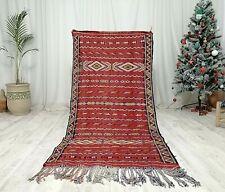 "Moroccan Handmade Wool Runner Rug 3'5""x7'2"" Berber Kilim Red Rug Home Handmade"