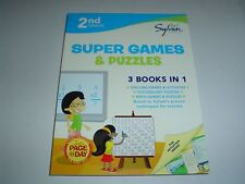 Sylvan Learning Second Grade Workbook Super Games & Puzzles 3 Books in One