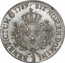 O1016 RARE !! Louis XVI écu ameaux olivier 1789 B Rouen Argent avers SPL