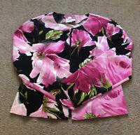 Joseph Ribkoff Pink Black Green Floral Zip Up Jacket Blazer Size 10