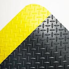 Crown Industrial Deck Plate Anti-Fatigue Mat Vinyl 36 x 60 Black/Yellow Border