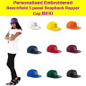 Personalised Embroidered 5panel Snapback Rapper Cap Custom Text Beechfield B610