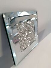 Angraves Lustre Silver Sparkle Glitter Mirrored Glass Coaster Set of 4