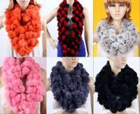 Women's Fashion Real Rabbit Fur Handmade Wraps Scarves Warm Shawl Scarfs Gifts
