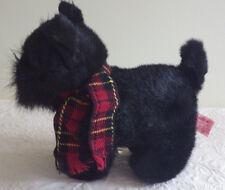 "Black Boston Terrier Shadow Scotty Puppy Dog 10"" Plush Stuffed Animal Toy"