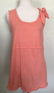 Anthropologie Pure + Good Top XS Fits S M Tie-Shoulder Coral Pink Sleeveless