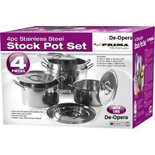 BN 4PC LARGE STAINLESS STEEL CATERING DEEP STOCK SOUP BOILING POT STOCKPOTS SET