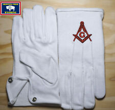 Brand New Masonic White Gloves with Embroidered Square & Compass ~ Medium Size ~