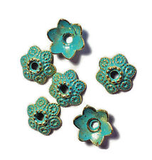 #700RT Patina Bead Caps Deco Flower Floral Gold Unique Artsy 11mm Antiqued Green