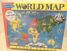 NEW Melissa & Doug WORLD MAP Jumbo Jigsaw Puzzle (33 pcs, 2 x 3 Feet) Toy Gift