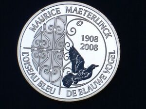 "Belgium 10€ Silver Proof 2008qp Maurice Maeterlinck ""The Blue Bird"" KM#266"