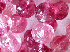 VTG 50 ROSE PINK TRANSPARENT FLOWER BUDS 7mm GLASS BEADS #050715h