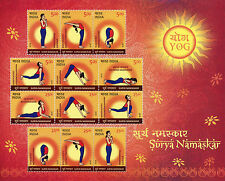 India 2016 estampillada sin montar o nunca montada posiciones Surya Namaskar asanas yoga 12v m/s Sellos