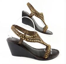 Coconuts Beaded Gold Leather Wedge Sandal Heel Cherub Women's 9