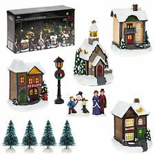 Christmas LED Light up Village Scene Battery Operated - Mini 12 Piece Village