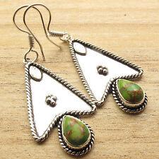 Turquoise Gorgeous Feminine Earrings 925 Silver Overlay Green Copper