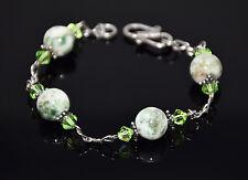 """Sterling Silver W/Tree Jasper, Crystal & Bali Silver Bead Bracelet-6.5"""" S-Clap"""