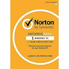 Brand New Norton AntiVirus Basic for Windows 1 PC 1 Year (Product Key Card)