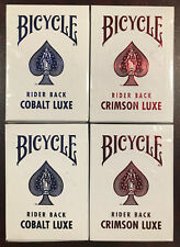 4 DECKS! Bicycle Metal Luxe Playing Cards 2-Crimson RED AND 2-Cobalt BLUE V1