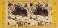 Italia Amalfi Grotte c1865 Foto Sommer Stereo Vintage Albumina
