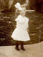 1910 Cute Little Girl Young with Giant Bow Pretty Dress Real Photo Postcard CZ