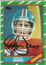 1986 Topps RULON JONES Signed Card Lambeau Field BRONCOS utah state st