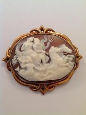 Superb Large Antique Victorian 15ct Gold Mounted Carved Shell Cameo - POSEIDON