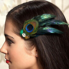 Peacock Feather Rhinestone Bridal Wedding Hair Clip Pin Head Hairpin Clip Beauty