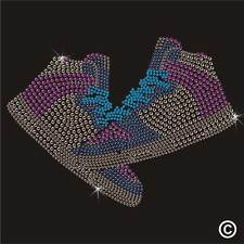 Iron On Rhinestone Transfer TRAINERS SNEAKERS Diamante Hotfix Gem Crystal Motif