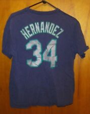 VTG Felix Hernandez Seattle Mariners 34 T Shirt Large MLB Majestic Baseball